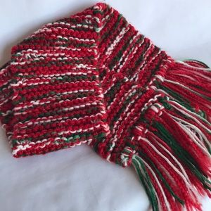 Red, white, and green knitted scarf